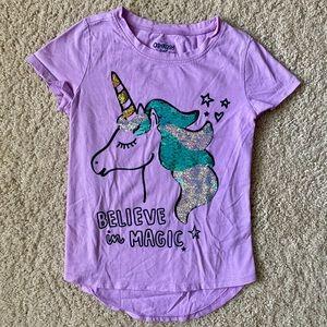 ⭐️ OshKosh TShirt Unicorn w Flip Sequins sz 7/8